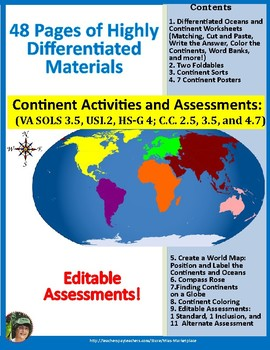 Oceans And Continents Labeled Map Teaching Resources Teachers Pay