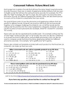 Consonant Phonics Patterns Picture/Word Sorts (M)
