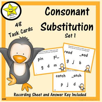 Consonant Substitution Task Cards, Set 1