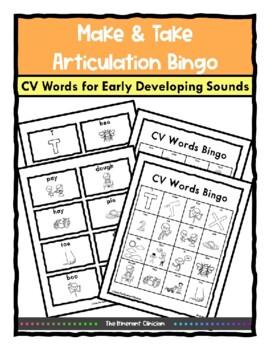 Consonant-Vowel BINGO Make & Take, SPEECH THERAPY, Apraxia