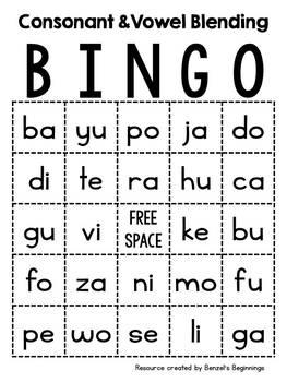 Consonant Vowel Blend BINGO Cards