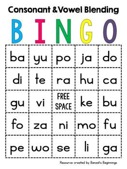 Consonant and Short Vowel Blending BINGO Cards