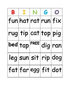 Consonant Vowel Consonant Word Bingo