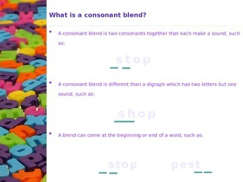 Consonant and Digraph Blends
