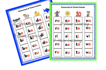 Consonant and Vowel Activity chart