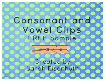 Consonant and Vowel Clip Cards FREE Sample