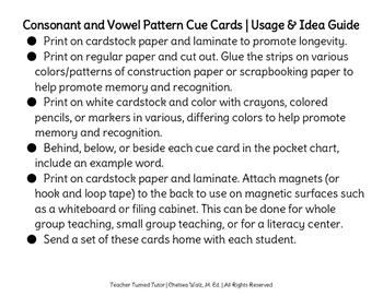 Consonant and Vowel Pattern Cue Cards