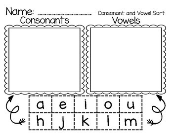 CONSONANT AND VOWEL LETTERS SORT