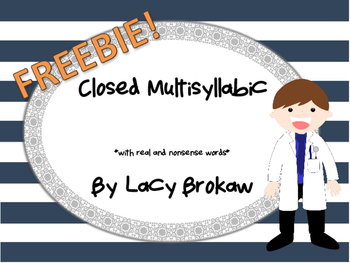 Multi-syllabic Closed Syllable Phonics worksheet