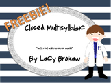 Multi-syllabic Closed Syllable Phonics worksheet