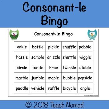 Consonant-le Bingo