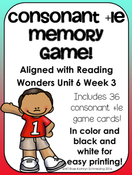 Consonant +le Memory Game---Aligned with Reading Wonders Unit 6 Week 3