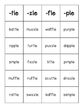 Consonant -le Sorting Center and Recording Sheet (-tle, -zle, -fle, -ple)