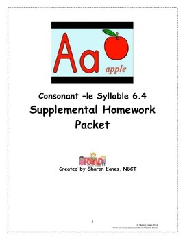Consonant -le Syllable 6.4 Supplemental Homework Packet