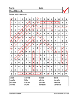 Consonant-le Syllable Sample - Consonant-le Syllable