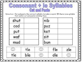 Consonant + le Syllables Word Work Worksheets by Robyn's Nest of ...