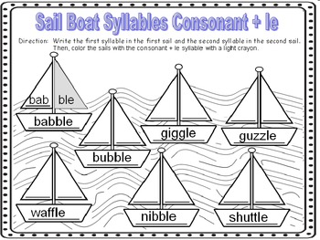 Consonant + le Syllables Word Work Worksheets