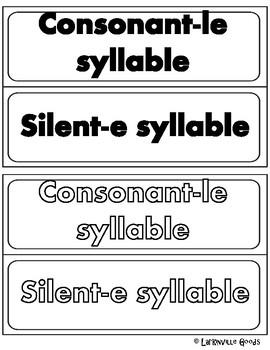 Consonant-le and Silent-e Syllable Sort