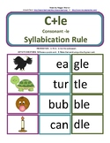 Consonant+le syllable (C+le) card match with worksheet - 2 syllable words (C-le)