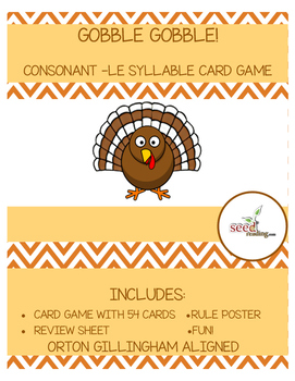 Consonant le syllable card game-GOBBLE GOBBLE-Orton Gillingham