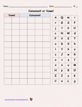 Bilingual Consonant or Vowel/Consonante o vocal