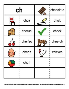 Consonant/Digraph Word Sorts with Pictures (Digraph Ch)
