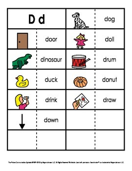 Consonant/Digraph Word Sorts with Pictures (Letter D)