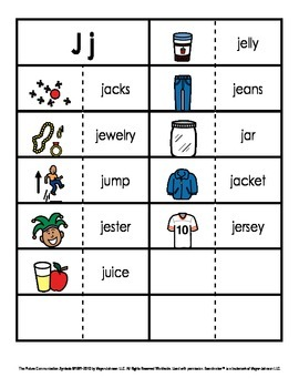 Consonant/Digraph Word Sorts with Pictures (Letter J)
