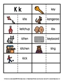 Consonant/Digraph Word Sorts with Pictures (Letter K)