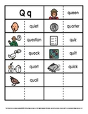 Consonant/Digraph Word Sorts with Pictures (Letter Q)