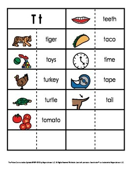 Consonant/Digraph Word Sorts with Pictures (Letter T)
