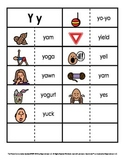 Consonant/Digraph Word Sorts with Pictures (Letter Y)