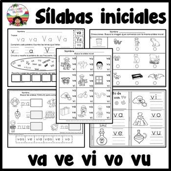 Letra V Silabas va, ve, vi, vo, vu
