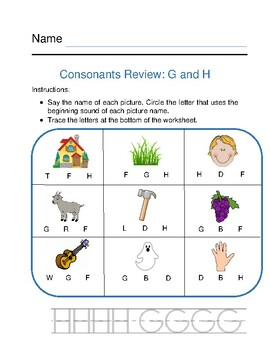 Consonants Review G and H