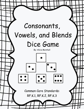Consonants, Vowels, and Blends Dice Game