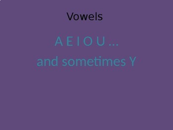Consonants and Vowels Powerpoint PPT