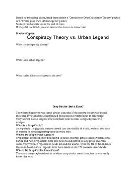 Conspiracy Theories vs Urban Legends