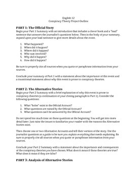 Conspiracy Theory Research Project Essay Outline
