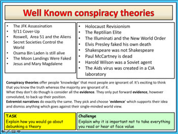 Conspiracy theories and Extremist narrative Lesson