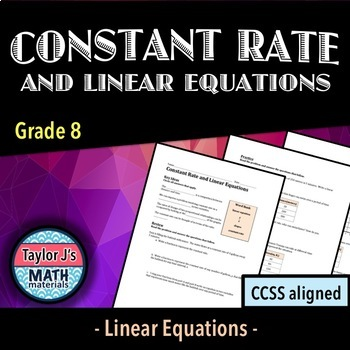 Constant Rate and Linear Equations Worksheet