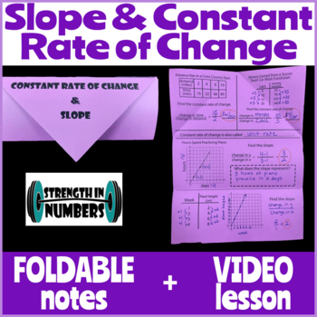 Constant Rate of Change and Slope Foldable Notes Interactive Notebook