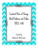 Constant Rate of Change Tables and Word Problems