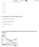 Constant Speed and Reading Distance Vs. Time Graph Quiz