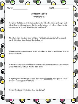 Constant Speed (d=rt) Worksheet