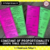 Constant of Proportionality Bookmark Notes