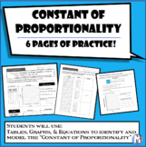 Constant of Proportionality (aka Unit Rate) Six pages of a