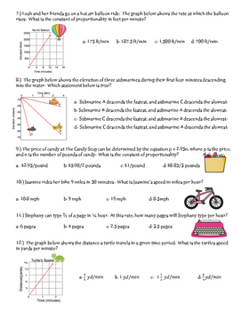 Constant of Proportionality Quiz ~ 7th Grade Math