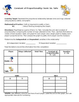Constant Of Proportionality Sonic Vs Tails By Teach On Teacher