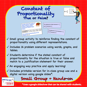 Constant of Proportionality: True or False?