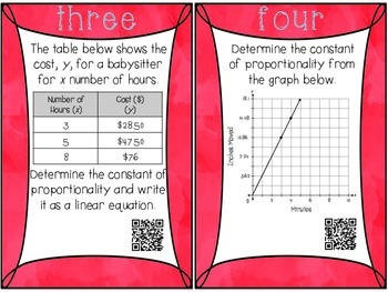 Constant of Proportionality and Constant Rate of Change :: QR Code Task Cards